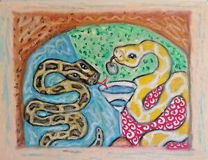 BURMESE PYTHON drinking a Martini artwork reptile art 13x19 poster print new