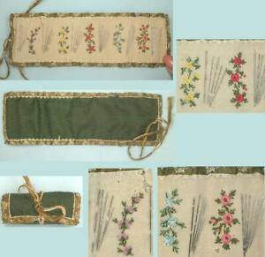 Antique Silk Needle Roll Embroidered w/ Colorful Flowers * English * Circa 1850