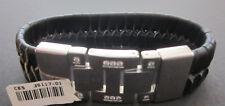 CEM Armband Leder schwarz mit Edelstahlstücken