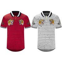 New Men Tiger Logo Polo Longline T-Shirt Paint Splattered Tee Collar Sizes M-2XL