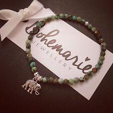 African turquoise mini elephant charm bracelet gemstone bijoux jewellery gypsy