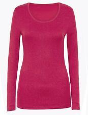 Ex M&S Ladies Sparkle Heatgen Thermal Long Sleeve Vest Top  Size 6-22