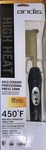 Andis High Heat Gold Ceramic Professional Press Comb Hair Straightener ~ NEW