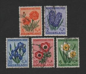 Netherlands B249-253 (1953 FLOWERS, Complete Set) used  ..  2021 Scott=$14.25