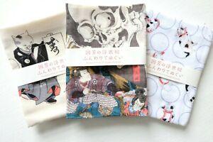 Japanese Ukiyoe Tenugui Cotton Cloths Set of 3 Kuniyoshi Cats Skelton