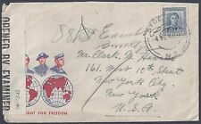 NEW ZEALAND 1944 WWII PATRIOTIC COVER CENSORED TO US