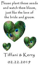 Wedding Favor Seed Packets Personalized Peacock Hearts Custom Favors Set of 100