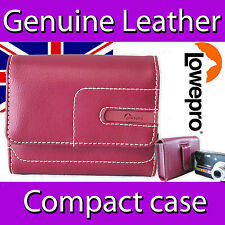 LOWEPRO PORTOFINO GENUINE REAL LEATHER TOP STITCHED COMPACT CAMERA CASE IN RED