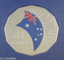 2000 50 cents Millennium Year coloured PROOF Australia Coin