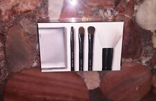 Nwt Bobbi Brown 5pc Mini Face & Eye Makeup Brush Set Silver Cosmetic Travel Case
