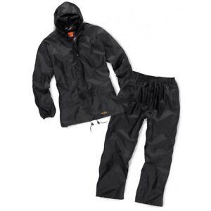 Scruffs Fully Waterproof Rainsuit Jacket & Over Trousers BLACK (Sizes L-XL) Mens