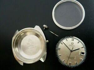 OMEGA SEAMASTER COSMIC PARTS CASE SET. (CASE, DIAL, 3 NEEDLES & STEM CROWN)