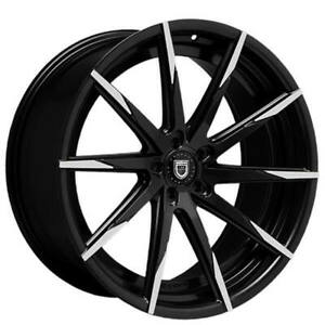 """4ea 22"""" Staggered Lexani Wheels CSS-15 Black w Machined Tips Rims (S42)"""