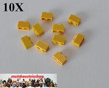 10X Lego® Basic Modifiziert, Rillen-, Riffelstein, Grille 1X2 Gelb 2877 NEU