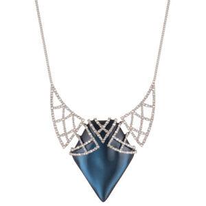 Alexis Bittar Crystal Encrusted Lattice Blue Velvet Lucite Bib Necklace