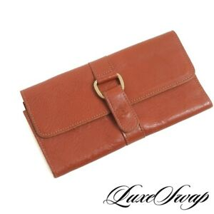 Il Bisonti Made in Italy Saddle Tan Caramel Brown Tumbled Leather Clutch Wallet