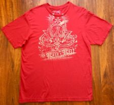 ROCK N ROLL Red 100% Cotton Unisex Short Slv Graphic T Shirt Tee Size L DRAGON
