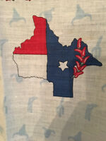 Texas Souvenir TEA Towel Center TX State Map-Red White & Blue Red Pepper Boarder