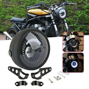 "6.5"" Motorcycle LED Headlight Hi/Lo Beam Mount For Cafe Racer Bobber Universal"
