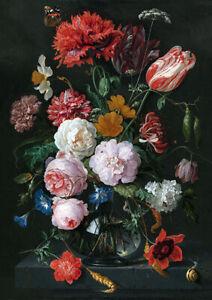Still Life Flowers Jan Davidsz de Heem Dutch botany wall fine art poster print
