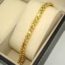 "18k Yellow Gold Filled Charm Bracelet 7.5""Chain 5mm Watch Link GF Jewelry Superb"