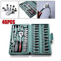 "46pcs 1/4"" Drive Socket Ratchet Wrench Set Car Auto Repair Torque Hand Tool Kit"