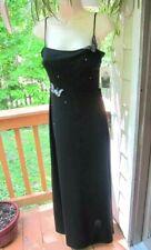 VTG 80s Allen B  Schwartz Black Spaghett strap Sz 8 gown ~Butterfly & Rhinestone