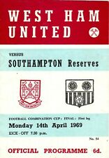 West Ham Utd v Southampton Reserves programme, Combination Cup Final, April 1969