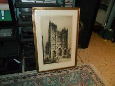 Vintage Andrew f Affleck Signed ARCHITECTURAL ART ETCHING Reims Cathedral France