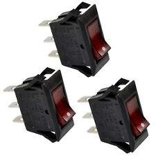 3-Pack Red Lighted Rocker Switch Black Function ON OFF 3 Prong 15A for Neon Lamp