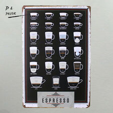 DL- Types Of Espresso's Cup Metal Tin Sign Bar Pub Wall Decor Poster Cafe modern
