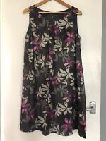 Laura Ashley Floral Dress Purple Grey Size 14