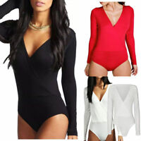NEW Womens Ladies Wrap Over Plunge Long Sleeved Jersey Bodysuit 8-24