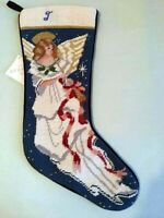 Sferra Angel Needlepoint Christmas Stocking w/Initial Letter 'J' Embroidered New