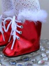 """RED Metallic Doll ICE SKATES w/ Faux Fur Trim SHOES fits 18"""" AMERICAN GIRL Doll"""