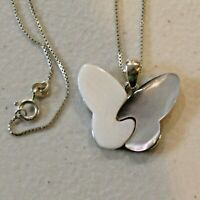 Vintage AVON Sterling Silver Necklace Butterfly Mother of Pearl .925