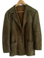 UNISEX Suede Moss / Forest Green Collared Buttoned Jacket Blazer Coat - Medium