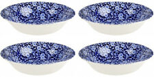 """BURLEIGH CALICO BLUE 4 x SOUP BOWLS (8"""" / 20.5cm) NEW/UNUSED"""