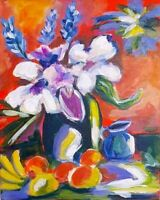 Abstract floral still life by Leigh Elks acrylic canvas board.