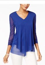 Alfani Draped Asymmetrical Top Andromeda Blue M NWOT $49