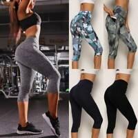 FITTOO Yogahose Damen 3/4 Kurze Hose Push Up Leggings Capri Fitness Gym Leggins