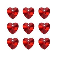 100pcs Heart Crystal Glass Charm Faceted Beads Pendant 14mm Valentine's Day Gift