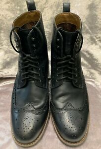 Men's Brand New Clarks Black Leather Brogue Boots Size UK 11