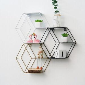 1 PCS Metal Iron Shelves Geometric Hexagonal Art Wall Display Shelf Wall-moS Hn