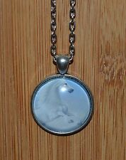 Lovely Glass Dome Cabochon Horse Vintage Style Pendant & Necklace