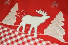 WINTER MOOSE & RED PLAID CHECKERBOARD! GERMAN CHRISTMAS TABLECLOTH