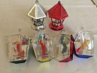6 Bradford Plastic Ornaments,2 Birds In Cage, 2 Lanterns W/ Candles, 2 Lanterns