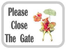 Please Close The Gate Fairy Design Metal Door Sign