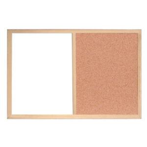 Combi Noticeboard - 600 x 400mm cork & magnetic drywipe - Pine Frame