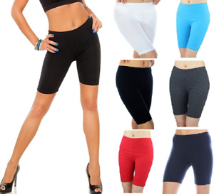 Navy Women Leggings 1/2 Shorts 95% Cotton 5% Spandex Sports Run Gym Bike Size S